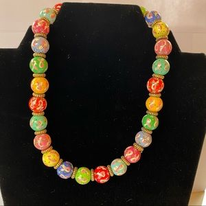 Angela Moore Painted Bead Necklace breast cancer